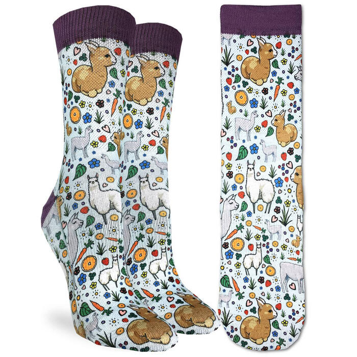 Good Luck Socks Women's Floral Llamas Socks