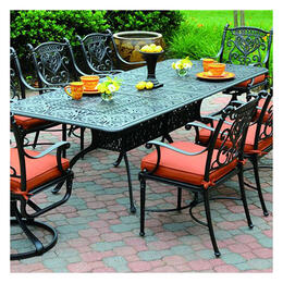Hanamint Tuscany Black Round Table 7-Piece Dining Set