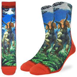 Good Luck Socks Men's Triceratops Dinosaur Socks