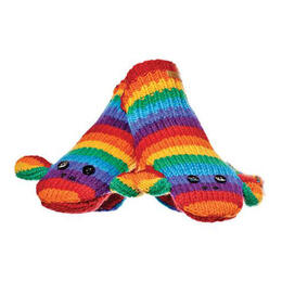 Knitwits Kids Stripe Sock Monkey Rainbow Mittens