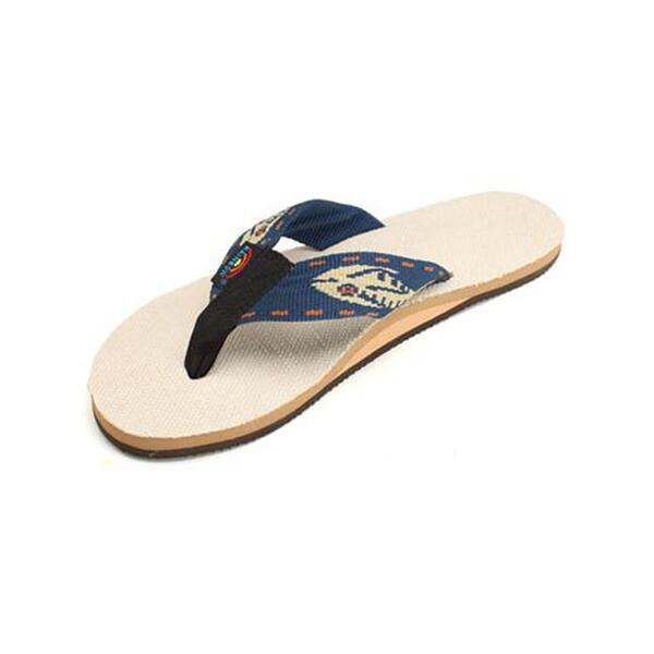 Rainbow Men's Hemp With Nylon Fish Pattern Strap Casual Sandals