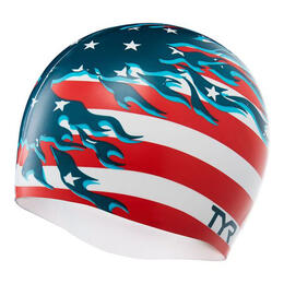 TYR Wrinkle-Free Silicone Blazing Patriot Swim Cap