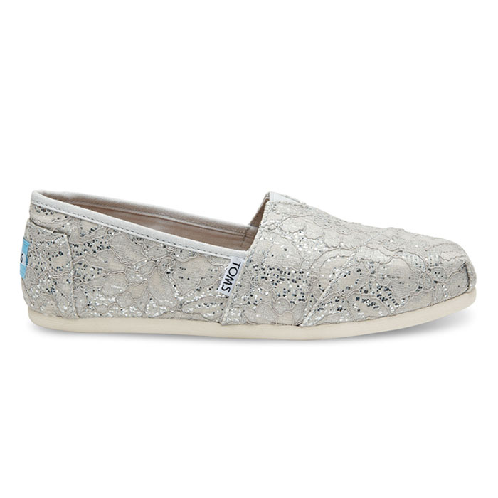 Toms - Womens Classic Canvas Slipon Shoes in Silver Glitter