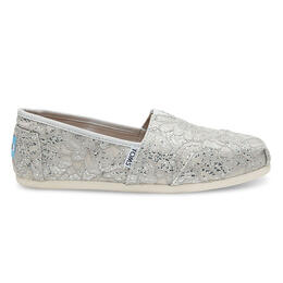 Toms Women's Silver Lace Glitz Seasonal Classic Slip-on Shoes