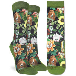 Good Luck Socks Women's Floral Dogs Socks