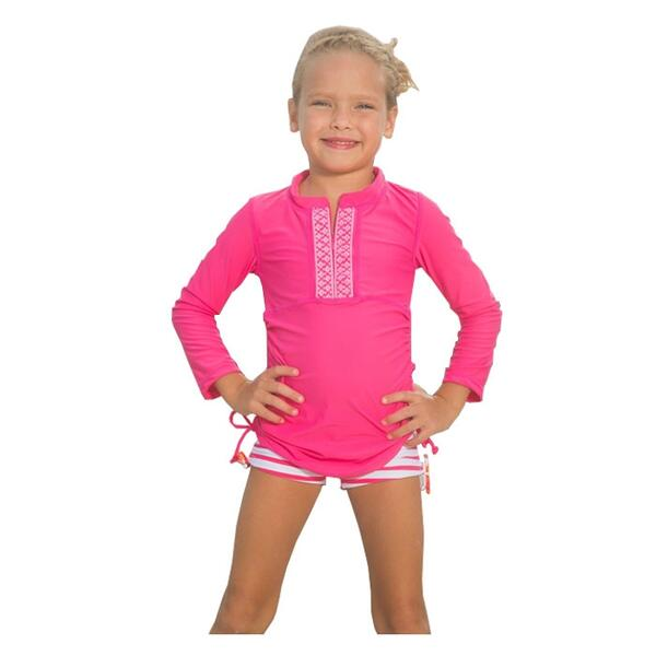 Cabana Life Girl's Embroidered Rashguard