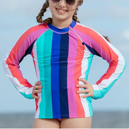 Cabana Life Girl's Colorblock Rashguard Set