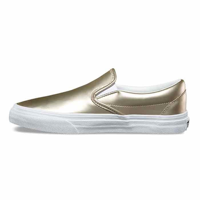 804e86d1a20f9e Vans Women s Muted Metallic Classic Slip-On Gold Shoes - Sun   Ski ...