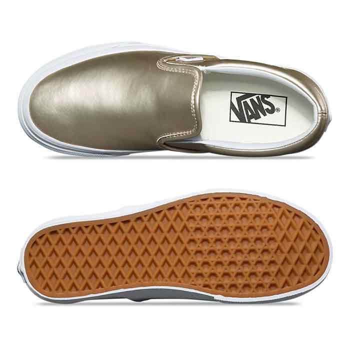 b9159fc0d8b77b Vans Women s Muted Metallic Classic Slip-On Gold Shoes - Sun   Ski ...