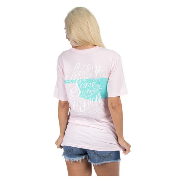 Back of Lauren James Women's Love Me Some Oklahoma Tee Shirt