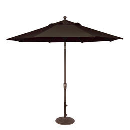 Treasure Garden 9' Push Button Tilt Aluminum Shade Umbrella Black/Walnut