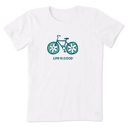 Life Is Good Women's Flower Bike Crusher T Shirt
