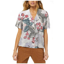 O'neill Women's Trails Print Camp Short Sleeve Button Up Top