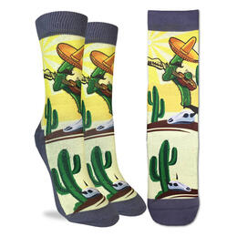 Good Luck Socks Men's Guitar Playing Cactus Socks