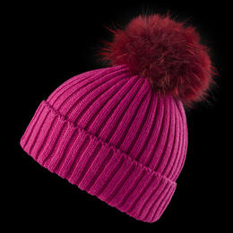Mountain Force Women's Almond Beanie with Fur Pom