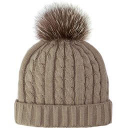Mitchies Matchings Women's Knitted Fox Pom Beanie