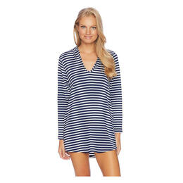 Splendid Women's Stripe Cover Up Hoodie Tunic