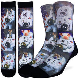 Good Luck Socks Men's Animals Dressed Up As Astronaut Socks