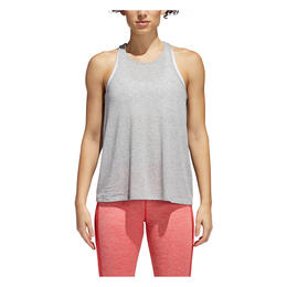 Adidas Women's Performance Open Back Tank Medium Grey Heather