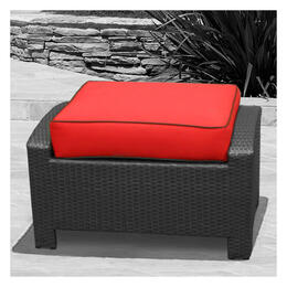 North Cape Cabo Rectangle Deep Seating Ottoman Cushion - Flagship Ruby W/ Canvas Bay Welt