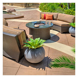 North Cape Cabo Willow 3-Piece Curved Sectional with Fire Pit