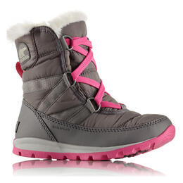 Sorel Girl's Whitney Short Lace Boots Quarry/Pink Ice