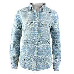 Dylan Women's Eyelet Lace Embroidered Denim Long Sleeve Shirt