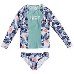Roxy Girls' Long Sleeve Fashion Rashguard Set