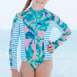 Cabana Life Girl's Preppy Palm Long Sleeve Unisuit