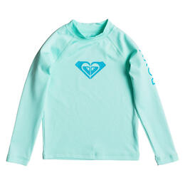 Roxy Girl's Whole Hearted Long Sleeve Rashguard, Beach Glass