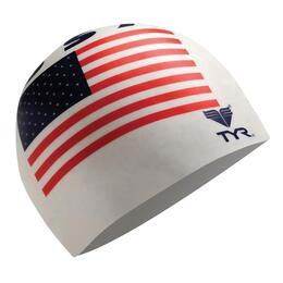 TYR Wrinkle-Free Silicone Swim Cap, USA Flag