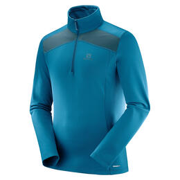 Salomon Men's Discovery Light Half Zip Top, Moroccan Blue/Reflecting