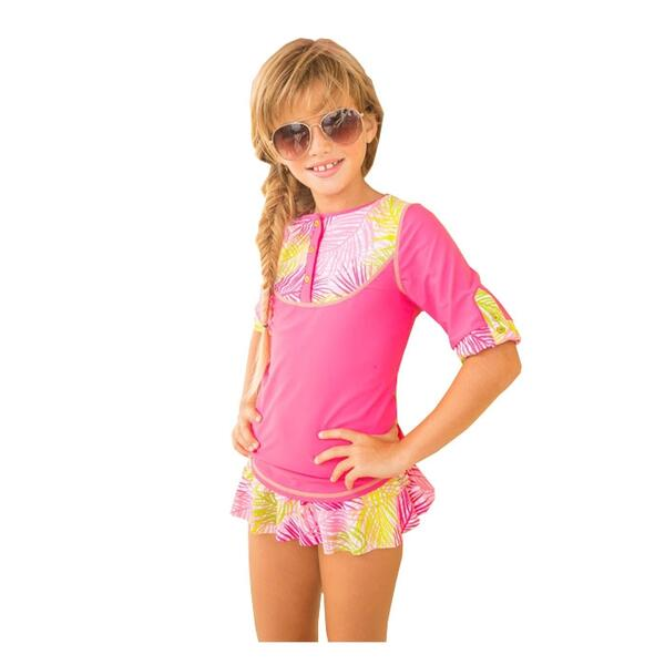 Cabana Life Girl's Palm Springs Swim And Rashguard Set