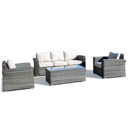 Alfresco Home Luna Wicker Conversation Sofa Group with Cushions