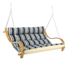 Hatteras Hammocks Deluxe Cushioned Hamptons Summer Stripe Double Swing