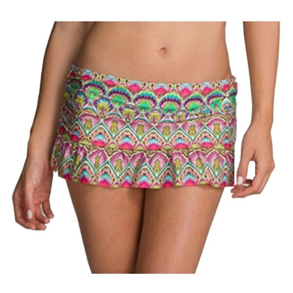 Kenneth Cole Reaction Women's Marbeled Mod Skirted Bikini Bottom
