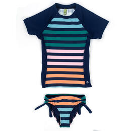 Next By Athena Girl's Stripe Impact Rashguard Swimwear Set