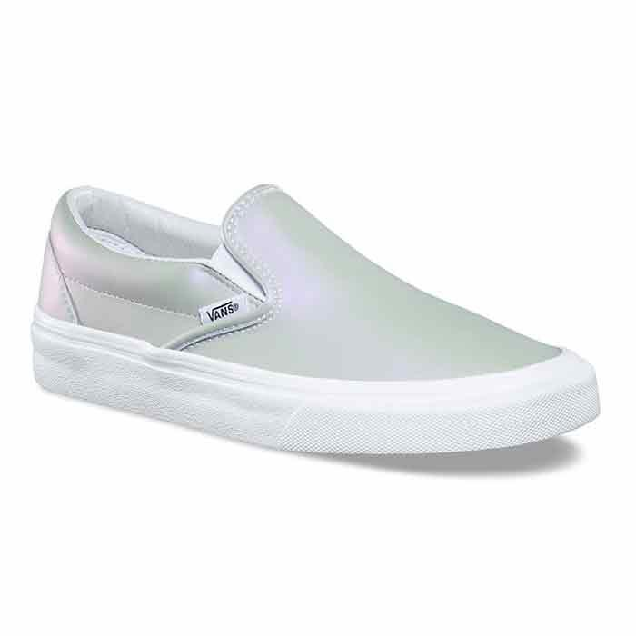 2d0f67db7eaa Vans Women s Muted Metallic Classic Slip-On Grey Violet Shoes - Sun ...