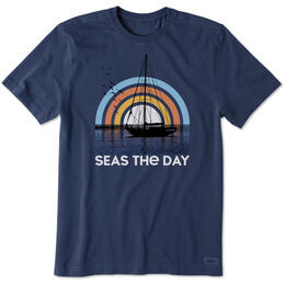 Life Is Good Men's Seas The Day Sailboat Crusher T-Shirt