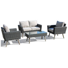 Alfresco Home Valentina Wicker Conversation Group with Cushions