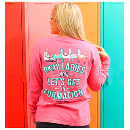 Jadelynn Brooke Women's Ok Ladies Now Let's Get In Formation Longsleeve Tee