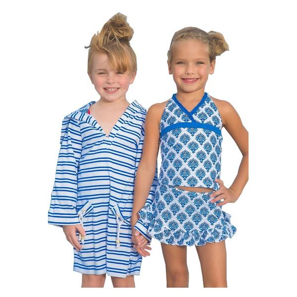 Cabana Life Girl's Lagoon Tankini And Cover Up Set