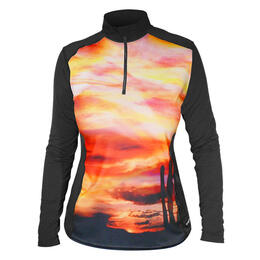 Hot Chillys Women's Peachskins Print 1/4 Zip Base Layer Top
