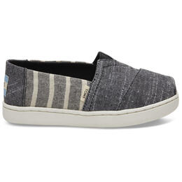 Toms Kid's Alpargata Youth Casual Shoes Black Stripe