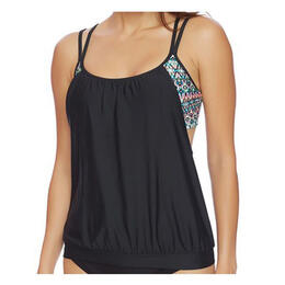 Next By Athena Women's Mandala Double Up D-Cup Tankini Top