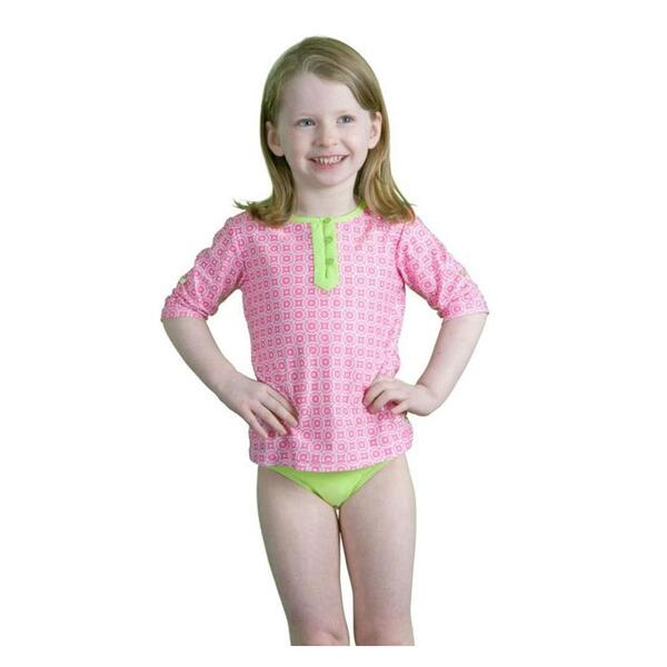 Cabana Life Girl's Preppy In Pink Swim And Rashguard Set