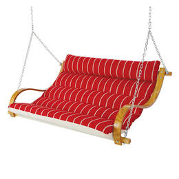 Hatteras Royal Red Stripe Deluxe Cushioned Double Swing