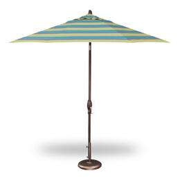 Treasure Garden 9' Auto Tilt Umbrella - Bronze with Astoria Lagoon Stripe