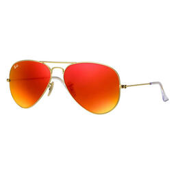 Ray-Ban Aviator Classic Sunglasses With Orange Flash Lenses