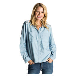 Roxy Women's Light Cloudy Chambray Button Up Shirt